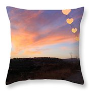 Hearts Sunset Throw Pillow by Augusta Stylianou