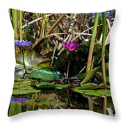 Heat Of The Afternoon - Down At The Lily Pond Iv Throw Pillow
