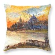 The Serene Sunset Throw Pillow