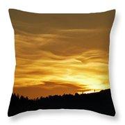 Heavenly Gold Sunset Throw Pillow