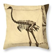 Heavy Footed Moa Skeleton Throw Pillow