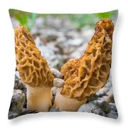Heavy Lifting Morels Throw Pillow