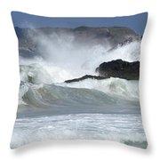Heavy Surf Action Fernando De Noronha Brazil 1 Throw Pillow