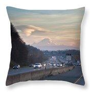 Heavy Traffic Stalls Interstate 5 Throw Pillow