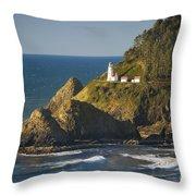 Heceta Head Lighthouse - Sunny Throw Pillow