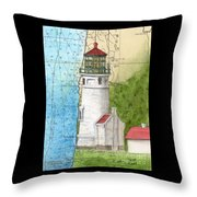 Heceta Head Lighthouse Or Nautical Chart Map Art Cathy Peek Throw Pillow