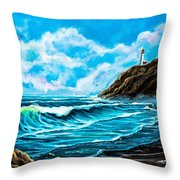 Heceta Head Lighthouse Oregon Coast Original Painting Forsale Throw Pillow