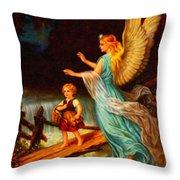 Heiliger Schutzengel  Guardian Angel 11 Oil Throw Pillow