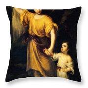 Heiliger Schutzengel  Guardian Angel 12 Oil Throw Pillow