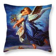Heiliger Schutzengel  Guardian Angel 7 Oil Throw Pillow