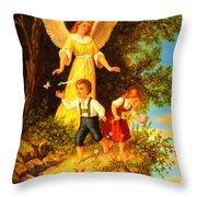 Heiliger Schutzengel Guardian Angel 8 Oil Throw Pillow
