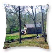 Helen Lee's Pioneer Log Cabin Throw Pillow