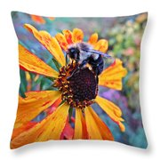 Helenium Bumble Bee Throw Pillow