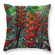 Heliconia Haven Throw Pillow