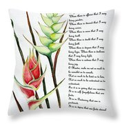 Heliconia Poem Throw Pillow