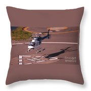 Helicopter Landing In Victoria, British Columbia Throw Pillow