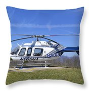 Helicopter On A Mountain Throw Pillow