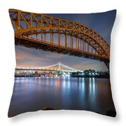Hell Gate And Triboro Bridge By Night Throw Pillow