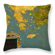 Hellenic Peninsula Greece Albania Bosnia And Bulgaria Throw Pillow
