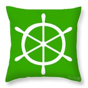 Helm In White And Green Throw Pillow