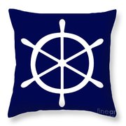Helm In White And Navy Blue Throw Pillow