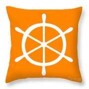 Helm In White And Orange Throw Pillow