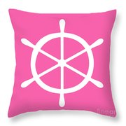 Helm In White And Pink Throw Pillow