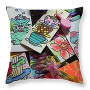 Help Children Read With Book Marks Hand Painted Two Throw Pillow