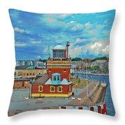 Helsingborg Lighthouse Hdr Throw Pillow