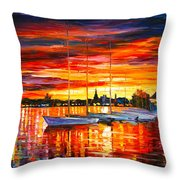 Helsinki Sailboats At Yacht Club Throw Pillow by Leonid Afremov