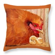 Hen With Chick On Wood Throw Pillow