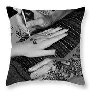 Henna Artist At Play Throw Pillow