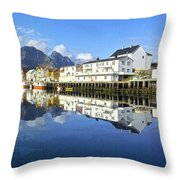 Henningsvaer Harbour Throw Pillow