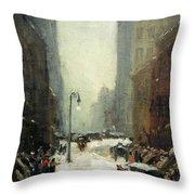 Henri's Snow In New York Throw Pillow