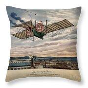 Henson's Aerial Steam Carriage 1843 Throw Pillow