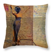 Her Back To The Wall Throw Pillow