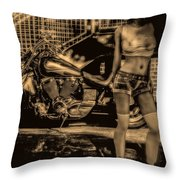Her Bike Throw Pillow