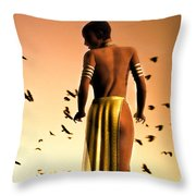 Her Morning Walk Throw Pillow