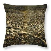 Herancourts Birdseye Of Minneapolis 1885 Throw Pillow
