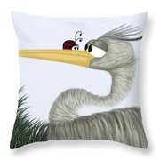 Herb The Heron And His Visitor Throw Pillow