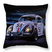 Herbie The Love Bug Painting Throw Pillow