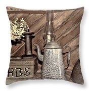 Herbs Bw Throw Pillow