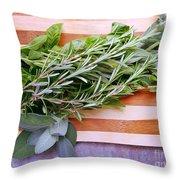 Herbs On Cutting Board Throw Pillow