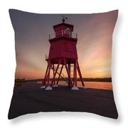 Herd Groyne Lighthouse On The Water S Throw Pillow