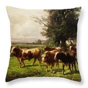 Herd Of Cows Throw Pillow