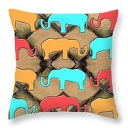 Herd Of Elephants Throw Pillow by Patrick J Murphy