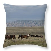 Herd Of Wild Horses Throw Pillow by Juli Scalzi