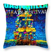Here Comes Gasparilla Throw Pillow