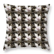 Here Kitty Kitty Close Up 25 Throw Pillow