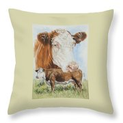 Hereford Cattle Throw Pillow